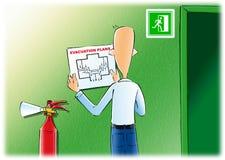Planos de evacuação & extinguishe do fogo ilustração royalty free