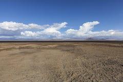 Planos de lama do lago seco soda no deserto de Mojave imagens de stock