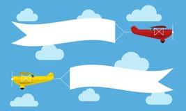 Planos de voo com bandeiras da propaganda Molde para o texto Ilustração do vetor ilustração stock