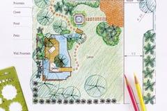 Planos do jardim da água do projeto do arquiteto de paisagem Imagens de Stock Royalty Free