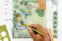 Planos do jardim da água do projeto do arquiteto de paisagem Fotografia de Stock Royalty Free