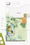 Planos do jardim da água do projeto do arquiteto de paisagem Fotografia de Stock