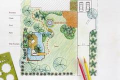 Planos do jardim da água do projeto do arquiteto de paisagem Foto de Stock Royalty Free