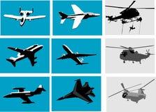 Planos e helicóptero Foto de Stock Royalty Free