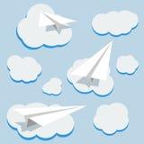 Planos e nuvens de papel do vetor Fotos de Stock