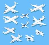 Planos isométricos Aviões, aviões e avião de passageiros do jato privado grupo aéreo do vetor 3d ilustração royalty free
