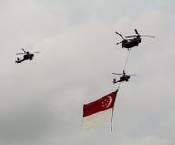 Planos militares com a bandeira de Singapura no ar Fotografia de Stock