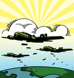 Planos militares del bombardero que caen bombas. Imágenes de archivo libres de regalías