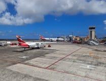 Planos no aeroporto de Maurícia Imagem de Stock