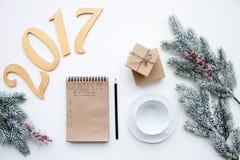 Planos pelo ano novo na opinião superior do fundo branco Fotografia de Stock Royalty Free