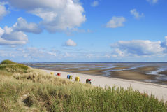 Planos y playa de fango Imagen de archivo libre de regalías