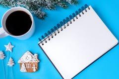 Planować nowego roku odgórnego widoku błękita tło Obraz Stock