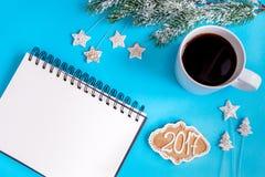 Planować nowego roku odgórnego widoku błękita tło Fotografia Royalty Free