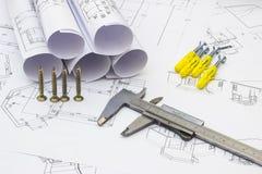 Plans à la maison et outils de rénovation Photo stock