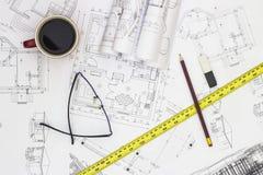 Plans à la maison et outils de rénovation Photographie stock