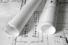 Plans. Rolled plans on the table Royalty Free Stock Photography