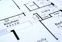 Plans. Close up of architectural  plans for a house Royalty Free Stock Photos