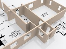 Plans. Of a house with a 3d model rising from the page Royalty Free Stock Photo