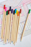 Plans. A photo of blue prints home Plans Royalty Free Stock Photography