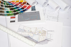 Plans. A photo of blue prints home Plans Stock Images
