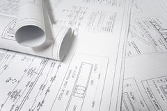 Plans_2. A photo of prints home Plans Stock Photo