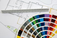 Plans. A photo of blue prints home Plans Royalty Free Stock Image