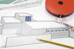Plans_3. A close up of architectural building plans & tools Stock Photos