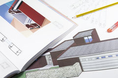 Plans_5. A close up of architectural building plans & tools Stock Photography