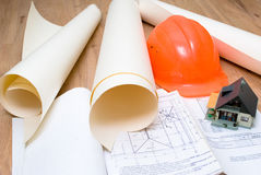 Plans. Architectural building plans on the table Royalty Free Stock Photos
