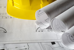 Plans. Architectural plans and Construction Helmet Royalty Free Stock Image