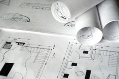 Plans. A close up of architectural building plans Stock Image