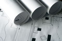 Plans. A close up of architectural building plans stock photo