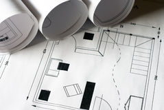 Plans. A close up of architectural building plans Royalty Free Stock Images
