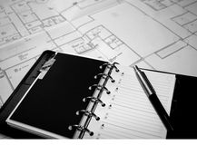 Plans. Take note for house plan Royalty Free Stock Photography