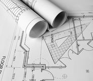 Plans. Architectural plans on the table Stock Photos
