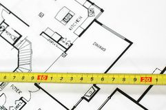 Plans architecturaux à la maison Photo stock