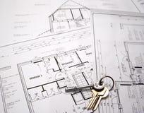 Plans architecturaux avec des clés Image stock