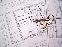 Plans architecturaux avec des clés Images libres de droits