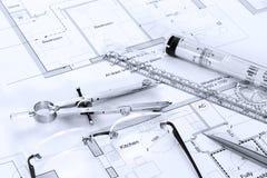 Plans architecturaux avec le matériel de retrait Photo stock