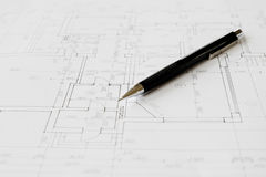 Plans and black pencil. On the table royalty free stock photography