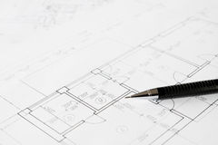 Plans and black pencil Stock Photos