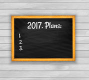 2017 plans. Blackboard on wooden background vector Royalty Free Stock Photography