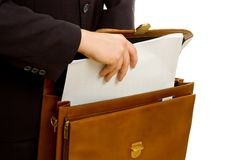 Plans in briefcase Royalty Free Stock Photography