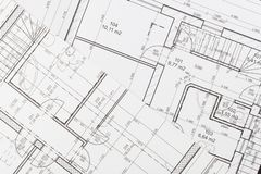 Plans of building. Architectural project. Floor plan designed building on the drawing. Royalty Free Stock Image