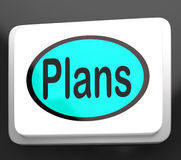 Plans Button Shows Objectives Planning And Organizing. Plans Button Showing Objectives Planning And Organizing Stock Photography