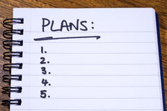 Plans Checklist. A checklist for Plans to be achieved Stock Photo