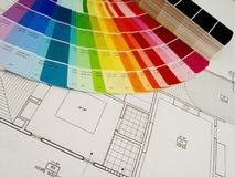 Plans and color. Color swatshes and plans Royalty Free Stock Images