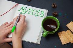Plans d'écriture pendant la nouvelle année mon 2018 pour faire la liste Images stock