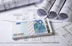 Plans d'architecture avec l'argent photo libre de droits