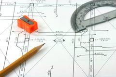 Plans d'ingénieur Images libres de droits